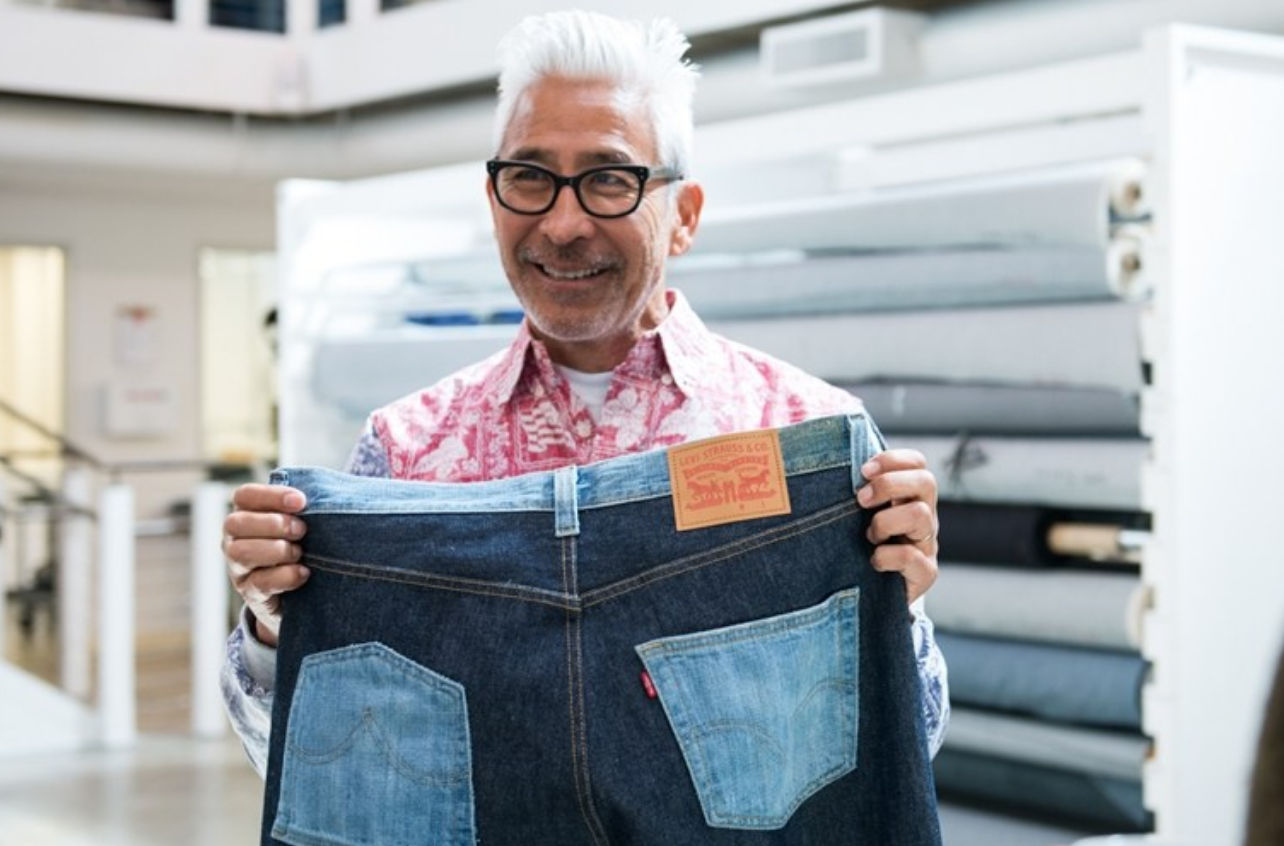 "Yoki says ""Use the whole the Fish"".  Mottainai is a Japanese word for ""Wasteful"".  Here he is repurposing a pair of Levi's destined for a landfill."