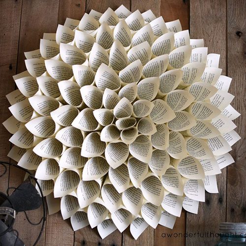 Dahlia Book Page Wreath tutorial from  A Wonderful Thought