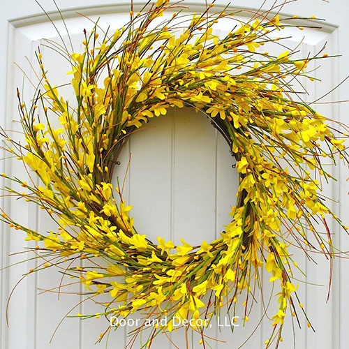 Forsythia Wreath available for purchase from  Door and Decor