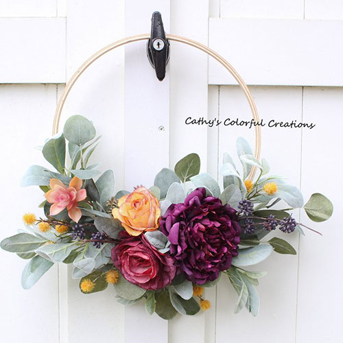 Embroidery Hoop Wreath available from sale from  CathyCWreathsNDecor