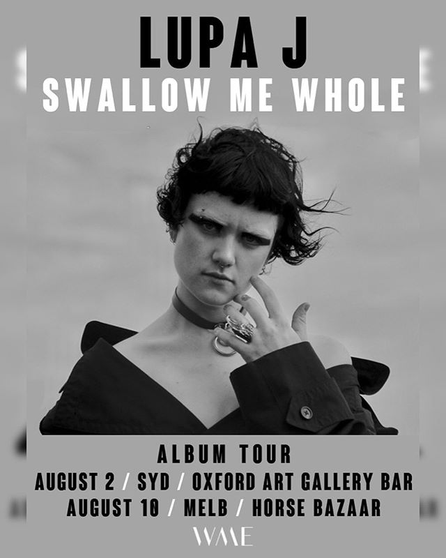 SWALLOW ME WHOLE IS OUT ON JULY 5 AND I'LL BE LAUNCHING IT AT THESE SYD + MELB SHOWS IN AUGUST. They're gonna be real special, it would mean the world to me to have you there. TIX + EVENT PAGES VIA THE LINK IN MY BIO 🖤