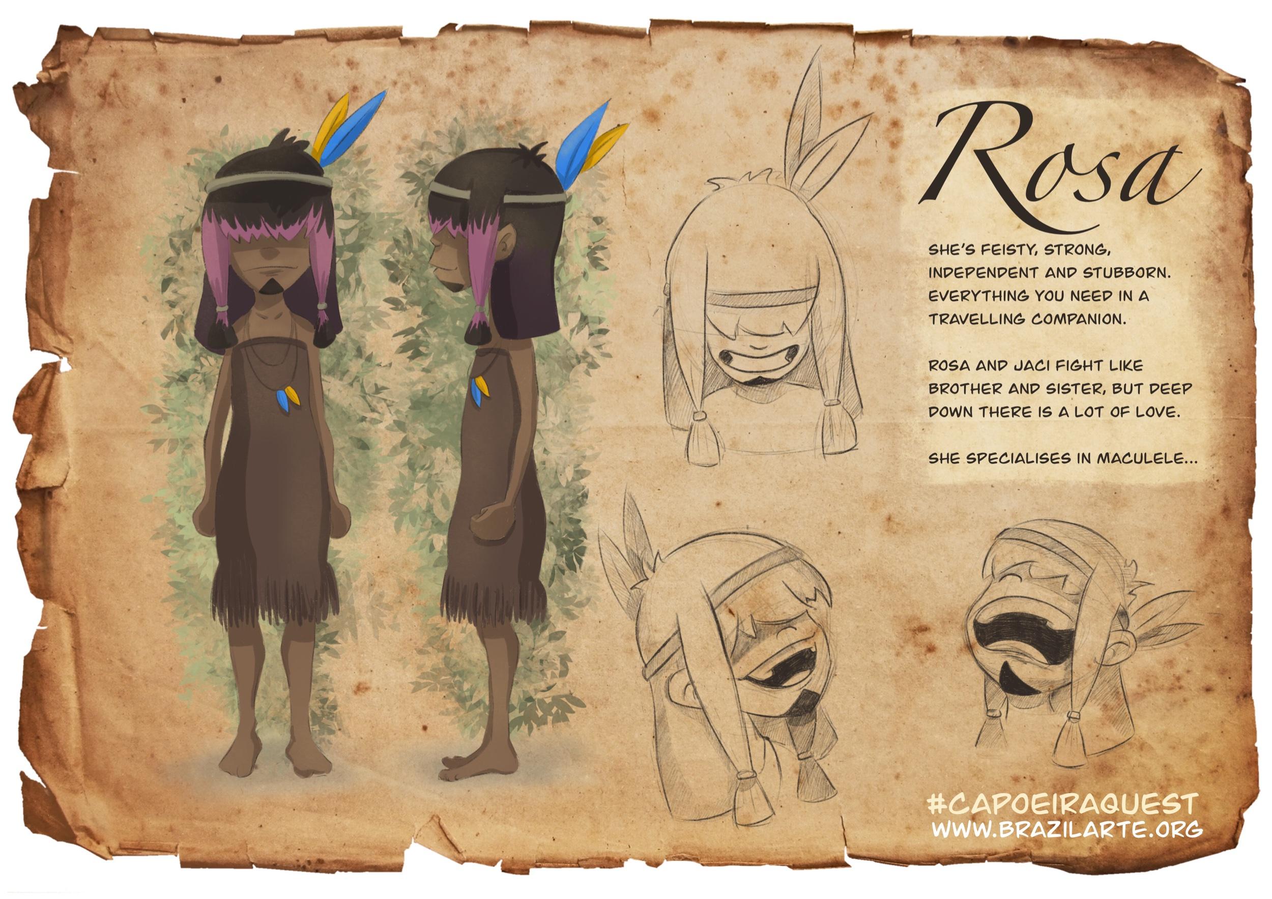 Rosa character sheet - Capoeira Quest comic
