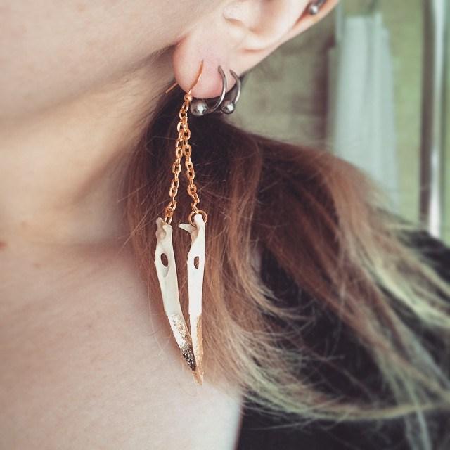 gold leaf jackdaw beak earrings.jpg