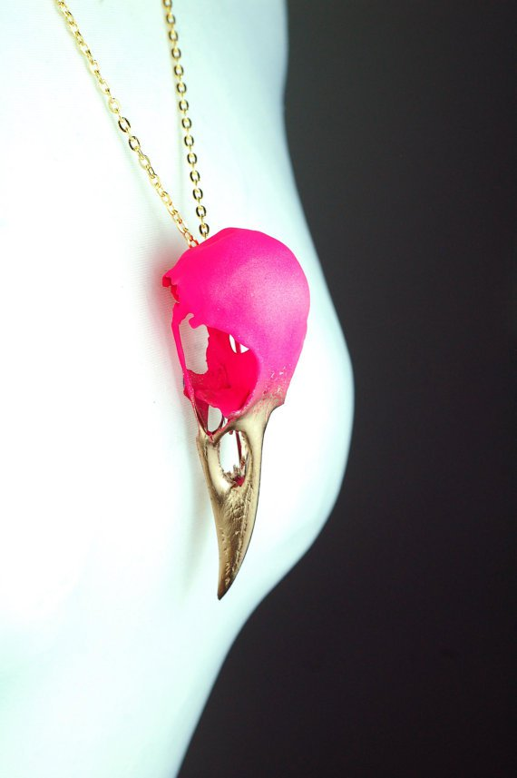 Neon Pink and Gold Crow Skull Necklace.jpg