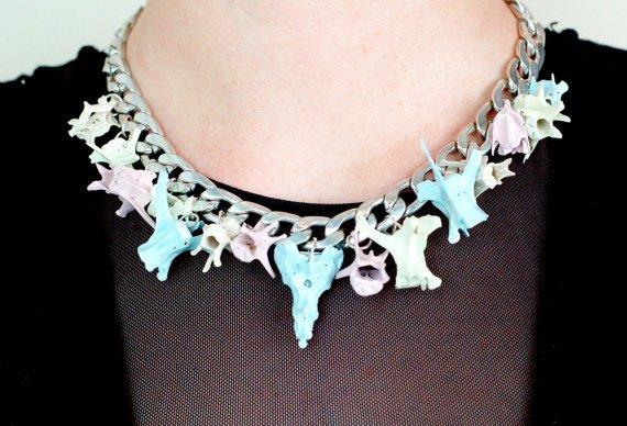 Pastel Rabbit Vertebrae Popcorn Necklace.jpg