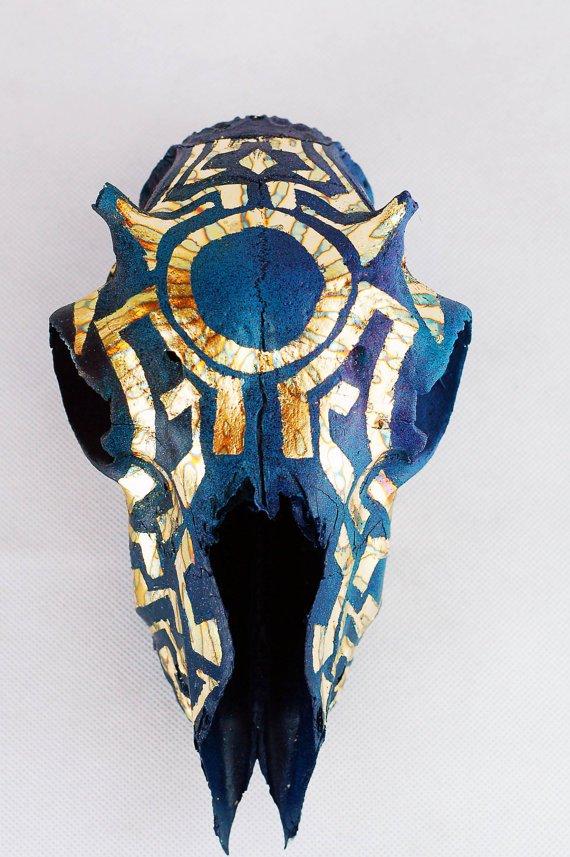 Aztec Blue Variegated Gold LEaf Sheep Skull.jpg