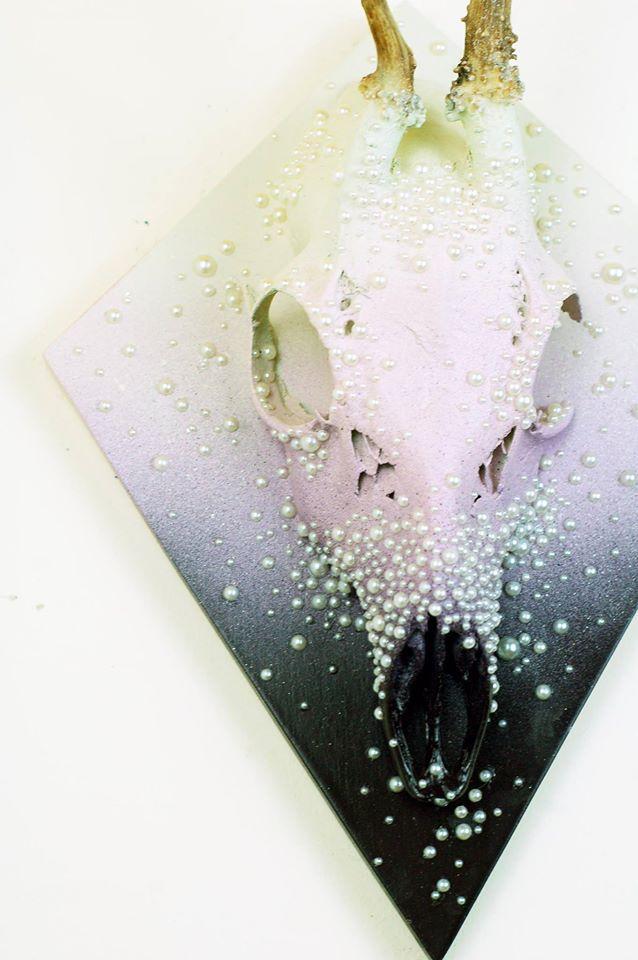Pearl Violet Roe Deer Skull Plaque.jpg
