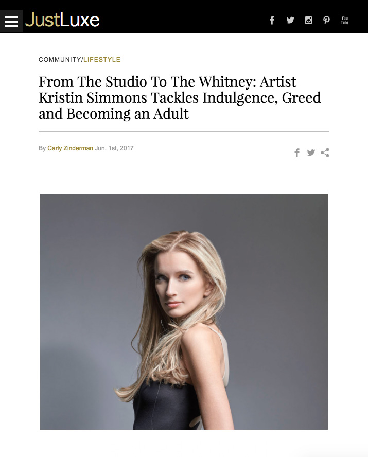 - From The Studio To The Whitney: Artist Kristin Simmons Tackles Indulgence, Greed and Becoming an Adult