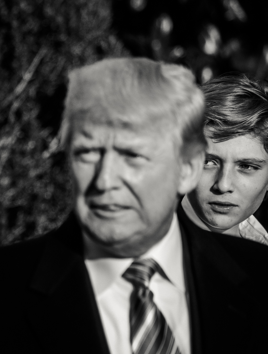 President Donald J. Trump speaks to the media after the annual turkey pardoning ceremony at the White House before departing to his Mar-a-Lago club in Palm Beach, Florida to celebrate Thanksgiving with his 11-year-old son, Barron, and wife Melania on November 21, 2017.