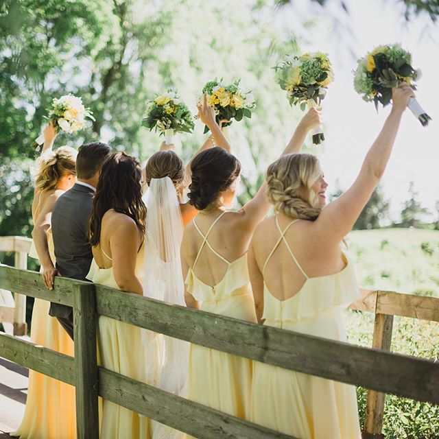 It's almost the weekend! Love the sunny yellow dresses from one of my July wedding parties! • • • #hairfashionandbridal #bridesmaids #summer #updo #bride #wedding
