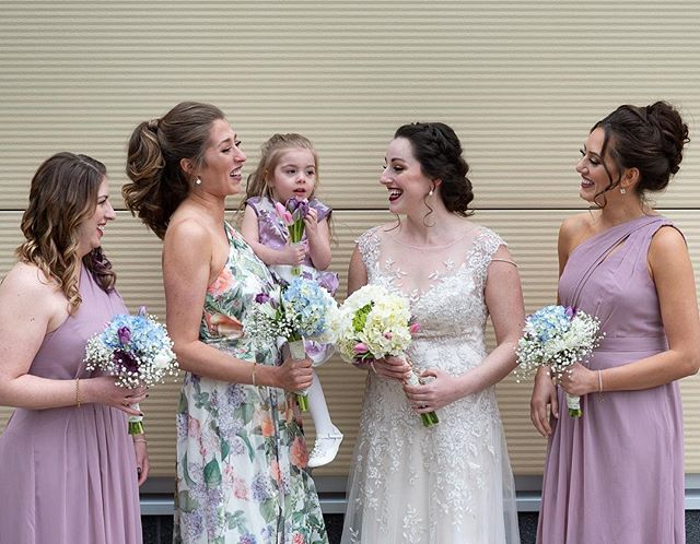 Amanda and her girls had THE BEST hair to work with and I'm in love with their dresses! • • • • #hairfashionandbridal #wedding #beautylaunchpad #bridesmaids #bride #updo #hairstyles #behindthechair #modernsalon #ittakesapro