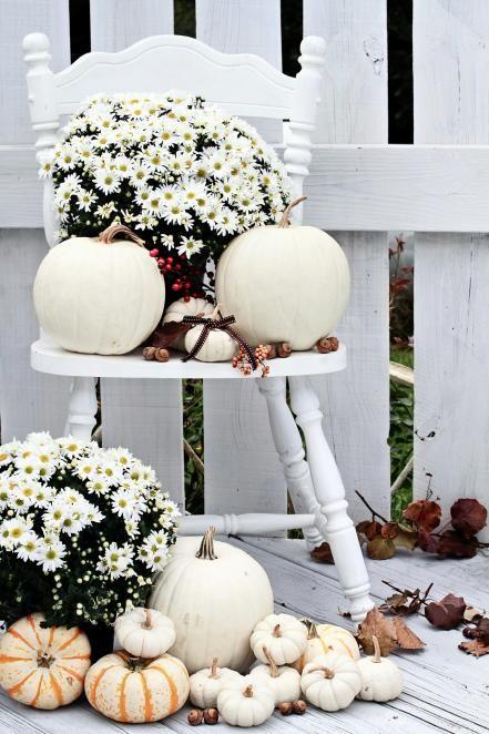 Combinar calabazas con arreglos de flores sencillos