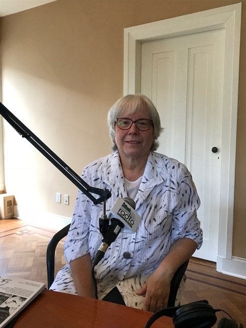 Joan Migton participating in the radio show Happy to Help sponsored by the Hunterdon County Chamber of Commerce on May 23 in Flemington. Joan talked with host Nicole Smith about plans for Boxwood Junction.