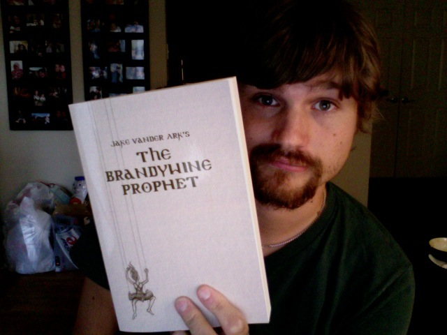 Here's a terrible picture of me holding up the first terrible cover for  Brandywine.