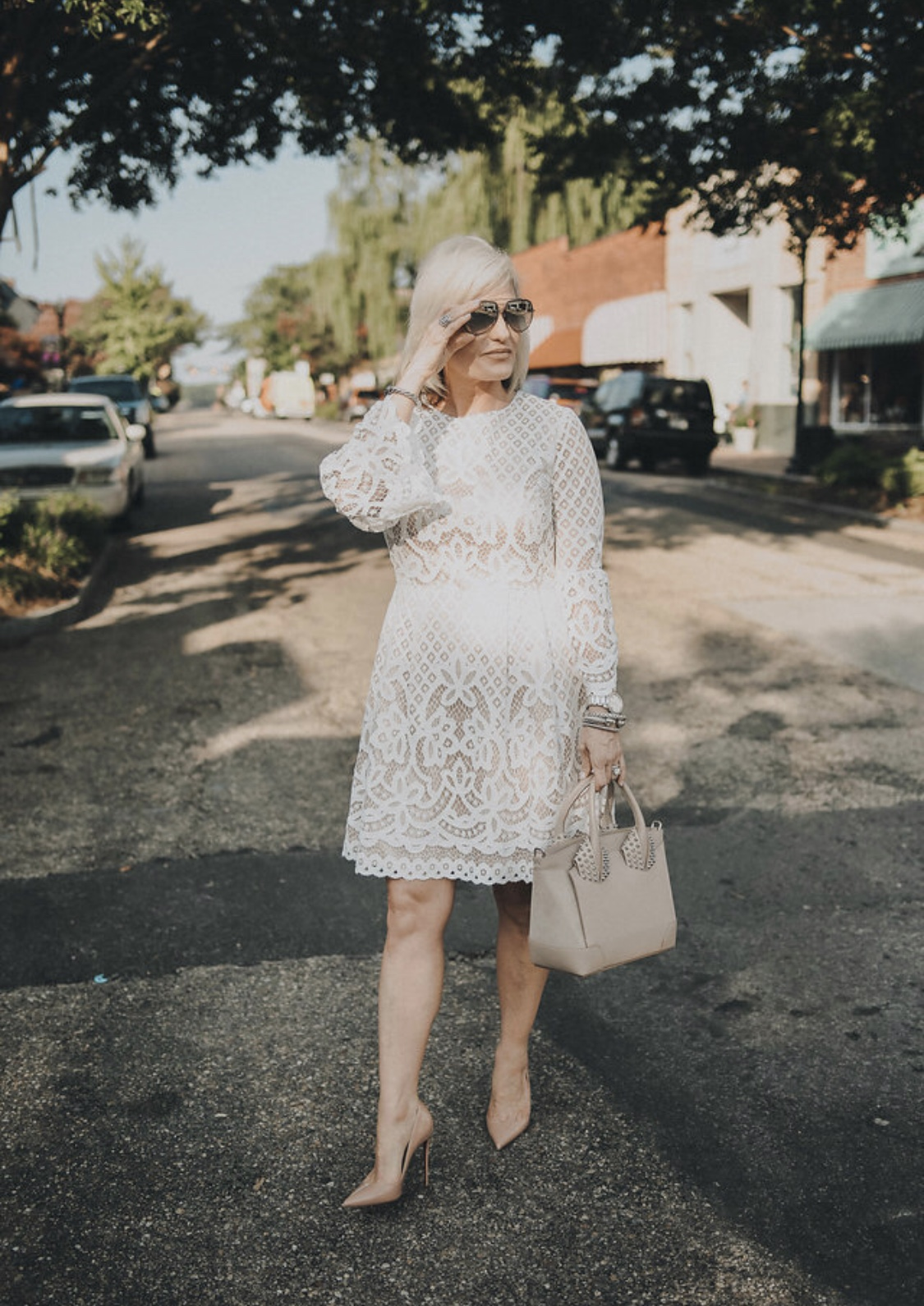 Styled here for an all-neutral look. Shoes  here  and similar style  here . Handbag similar style  here .  Sunglasses  here  and similar style  here .