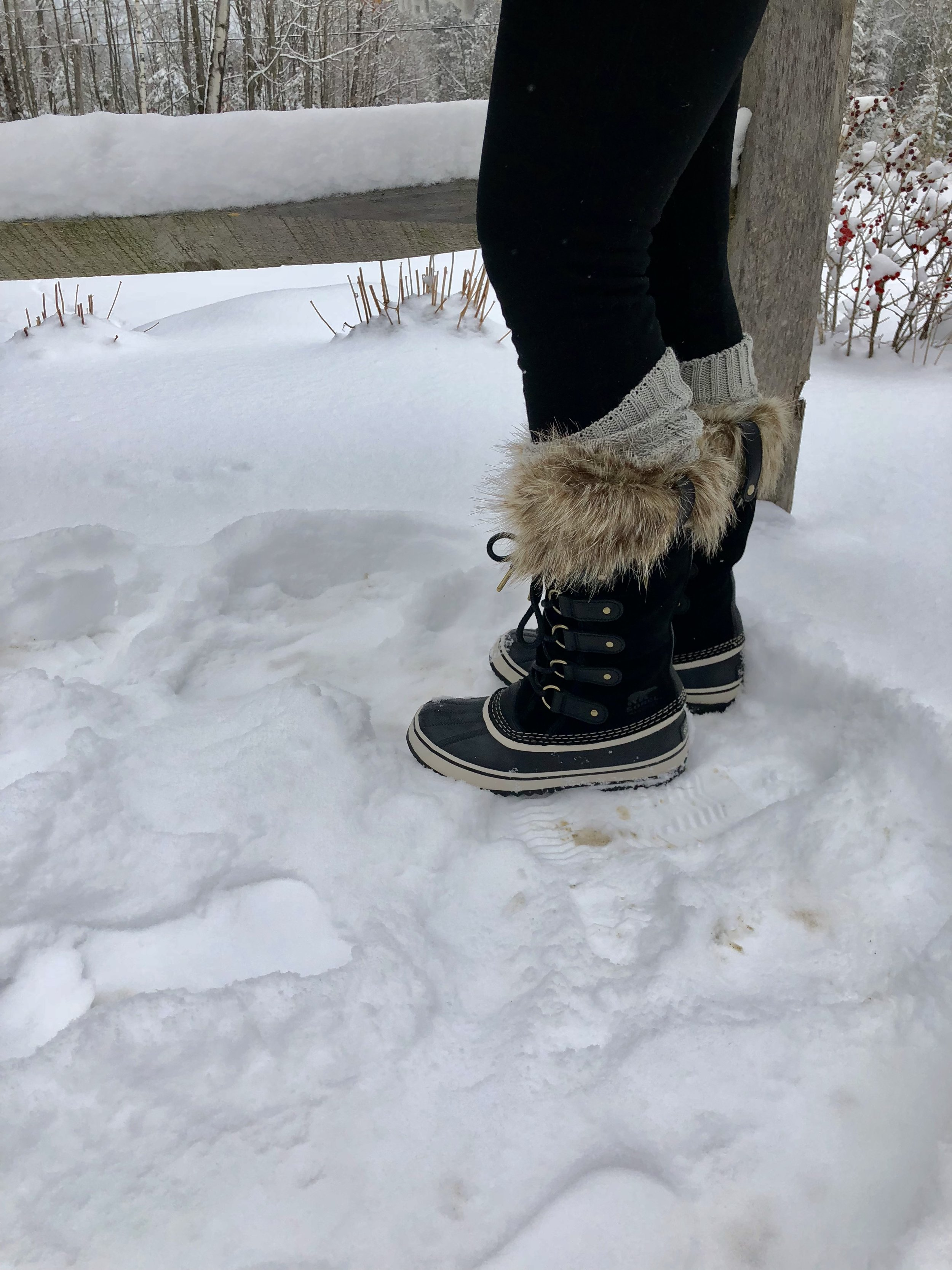 Be sure to wear cold weather waterproof  boots  and thick wool  socks .