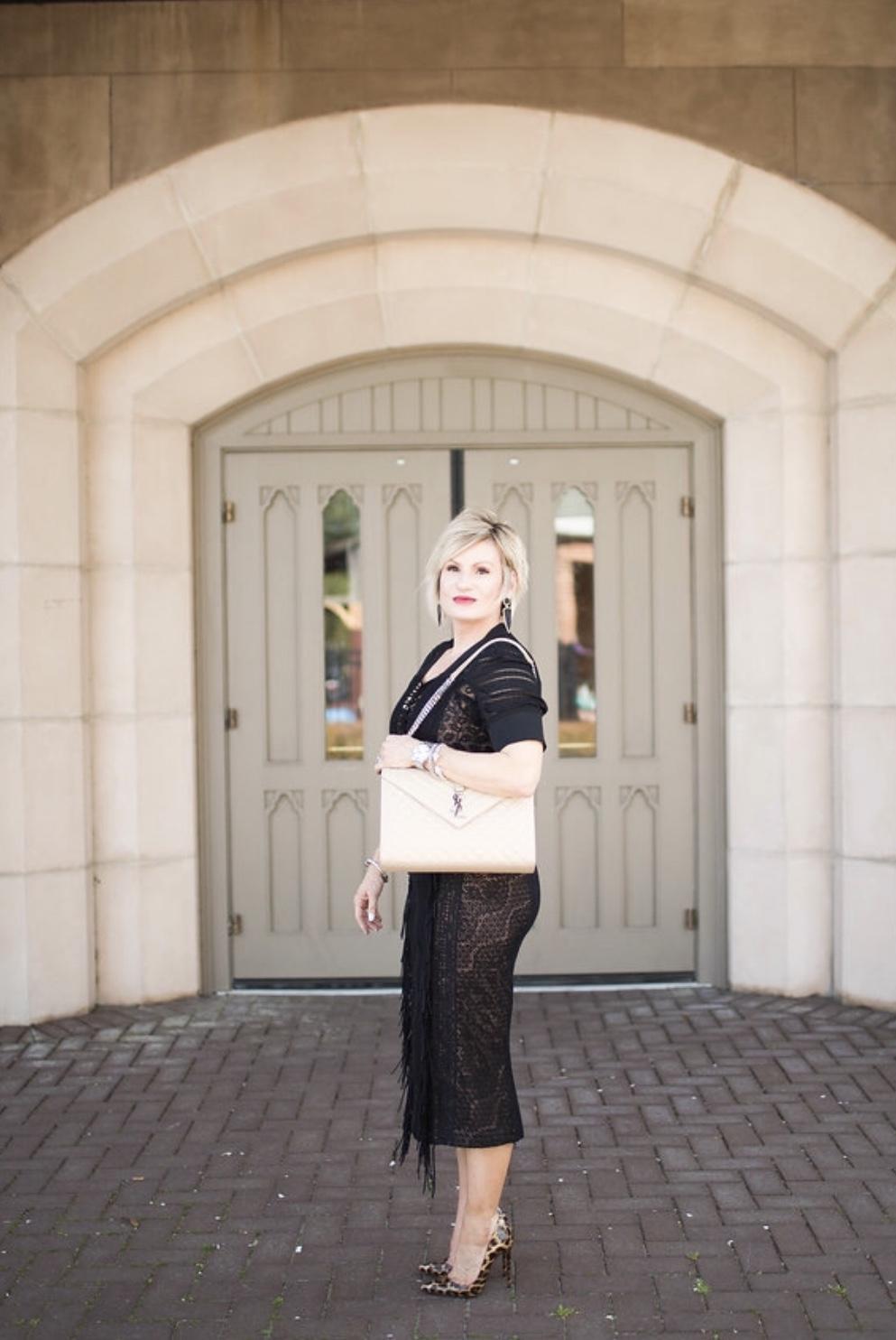 Shop the Little Black Dress look: Dress similar  here ; shoes similar  here ; handbag similar  here ; earrings  here.