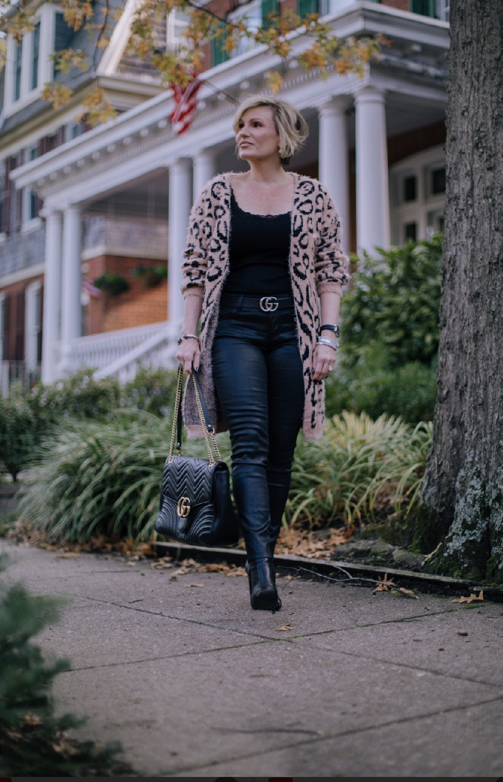 If a more casual look is what you are going for, a fuzzy sweater softens the silhouette. Add your favorite boots and belts an effortlessly chic look. Shop this look  here .