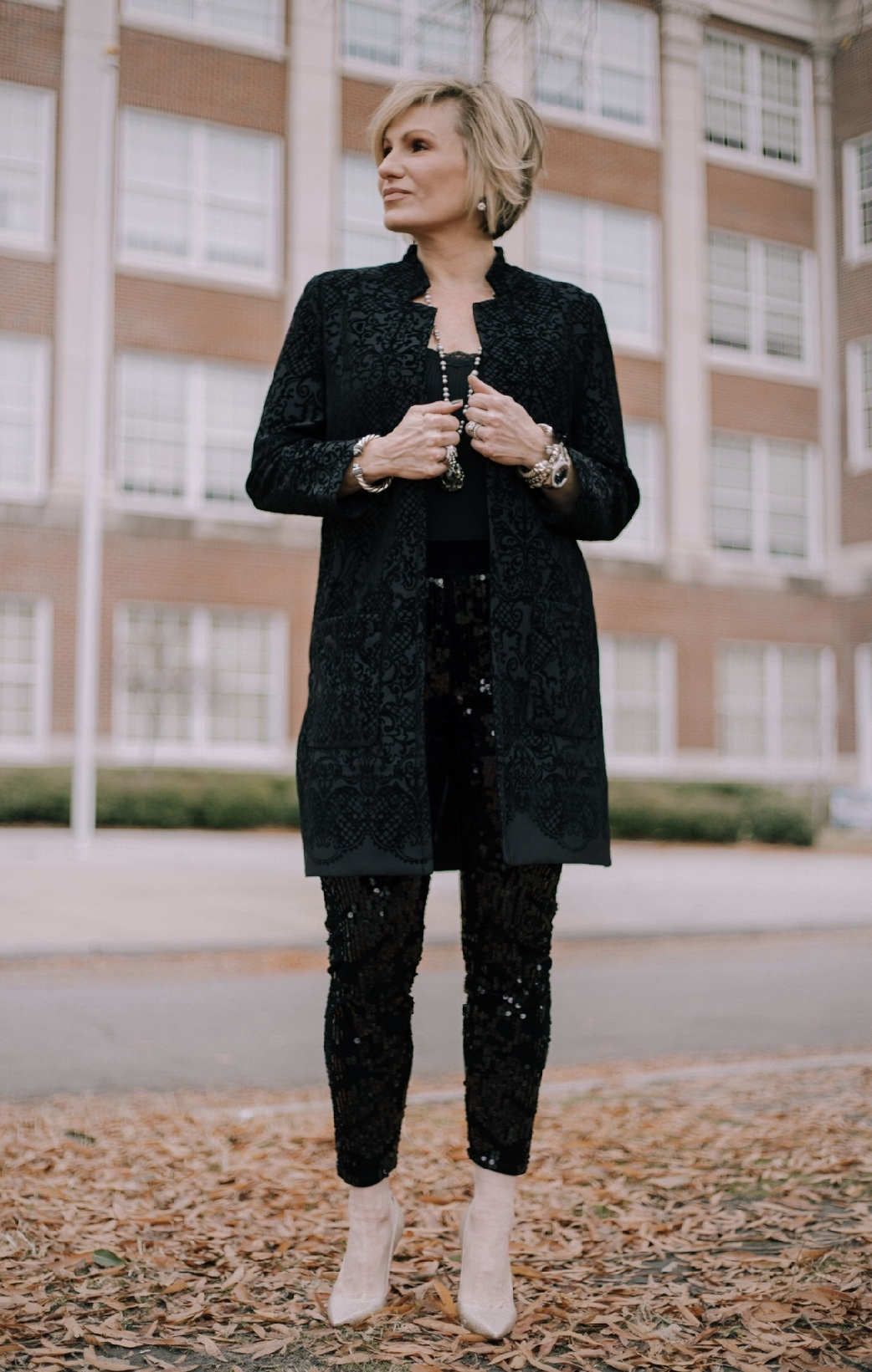 Styled with a damask jacket - perfect for office party or after work cocktails. Shop this look  here .