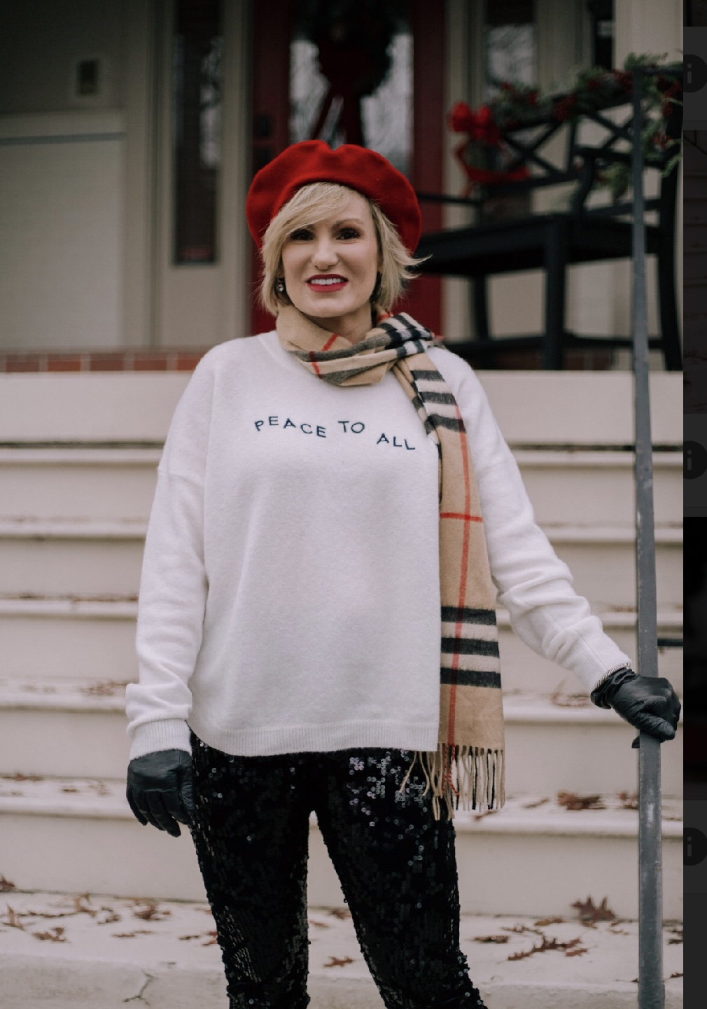 Layered up with a holiday sweater, colorful scarf, gloves and hat for shopping with the girls. Shop this look  here . Merry Christmas, friends xoxo