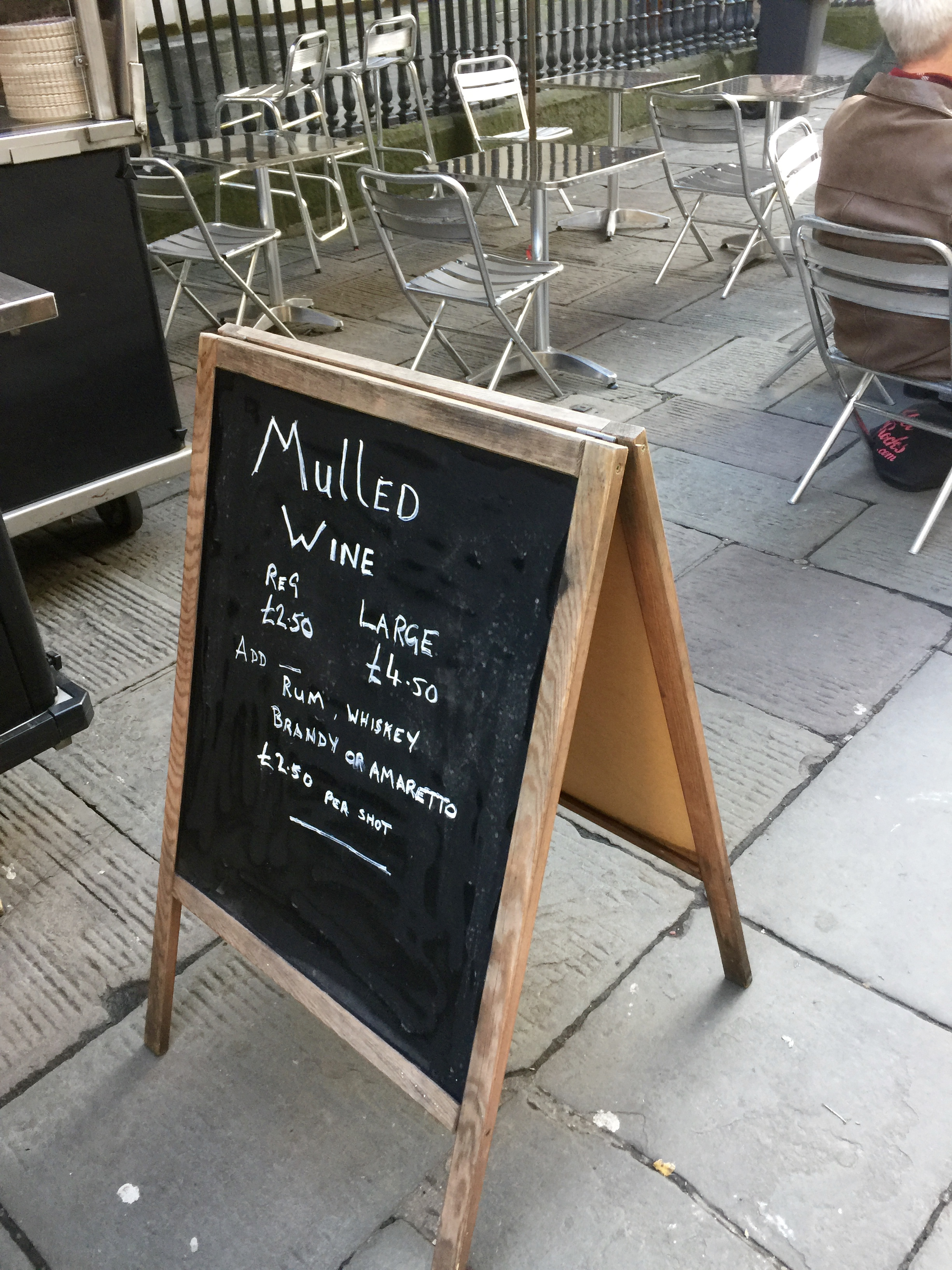I just had the regular mulled wine, it felt a little early in the day to add a shot!
