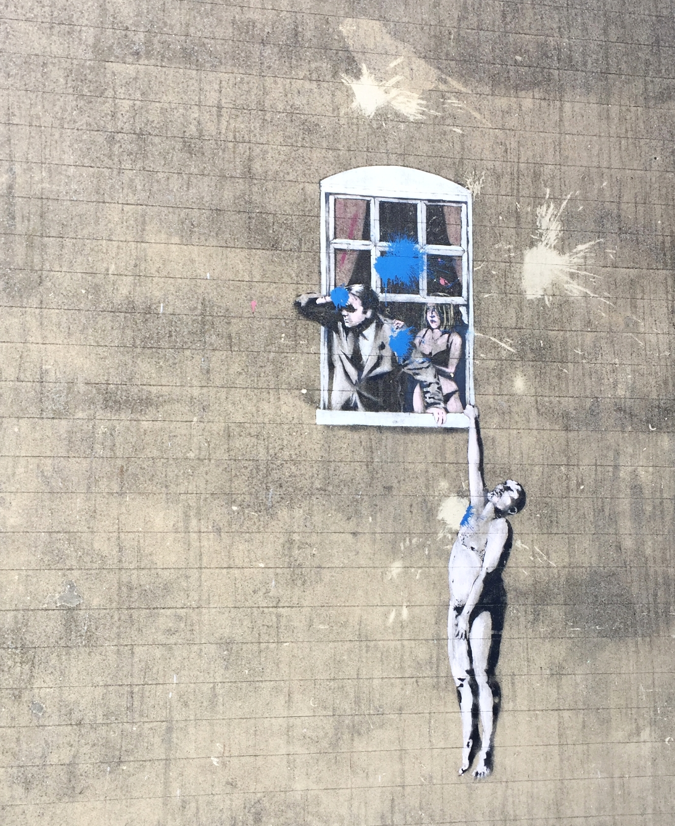 """An original Banksy! """"Well-Hung Lover""""  The blue spots are not part of the original painting."""