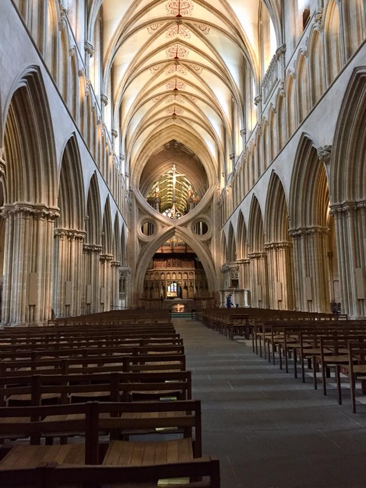 Wells Cathedral. The Intricate architecture looks very modern, but it's actually original and is part of the reason that the cathedral still stands today as it was 700 years ago. The curved structure provides equal support to all sides of the structure.