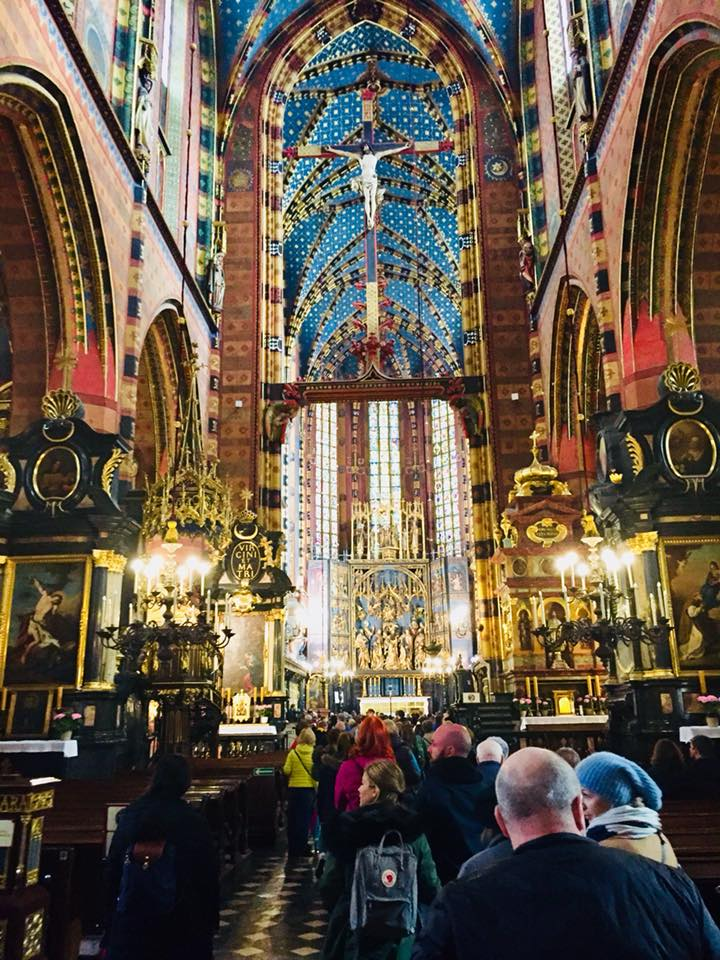 Interior of St. Mary's Basilica. This photo was taken on Saturday before Easter.
