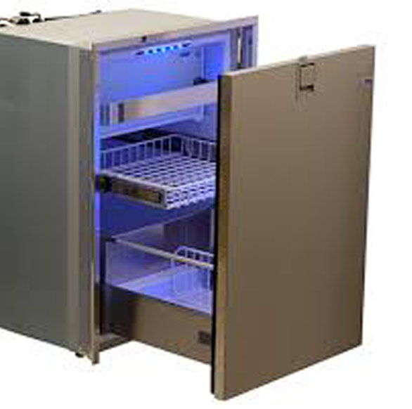 Isotherm Refrigeration - Ice in your sunset cocktails! The ISOTHERM Drawer Refrigerator/Freezer is a 2.3 cubic foot, space-saving, front-opened marine refrigerator drawer with brushed stainless steel door. Isotherm has a reputation for performance, innovative design and high quality materials, and also uses a minimum of battery power and offers the lowest possible noise level. The Drawer 65 features an internal freezer drawer, a caddy that holds three wine bottles and internal blue LED lights. The dependable Danfoss/SeCOP compressor with low power consumption and quiet performance, is backed by a 5-year limited warranty and all other parts are backed by a 2 year warranty.