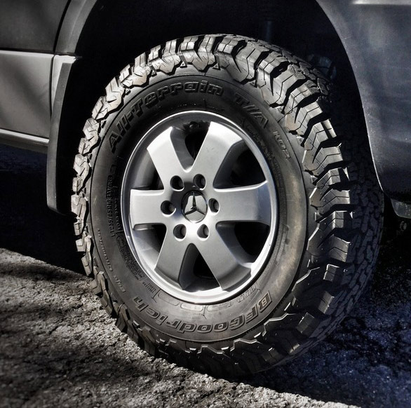 Tire Upgrade - The stock Mercedes tires have been upgraded to the BFGoodrich All Terrain KO2. These Tires take on the most rugged conditions with confidence, nimbly handling mud, snow, sand yet, they have excellent road manners. This is BFGoodrichs Toughest All-Terrain Tire Ever