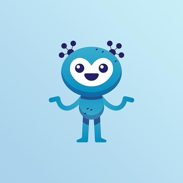 """An unchosen mascot concept for an AWESOME new app we're working on! The app connects people in need with others who can perform a random act of kindness. We agreed kindness doesn't really have a face, but it does have a *feel*. This disarming little alien channels the feelings of magic, compassion, and humility involved in providing acts of kindness for strangers. He's decorated with instantly-recognizable symbols of """"network"""" and """"connection""""- a nod to the app's core function. #mascotdesign #mascot #kindess #app #illustration #welovebranding #branddesign #branddesigner #designinspiration #graphicdesign #identitydesign"""
