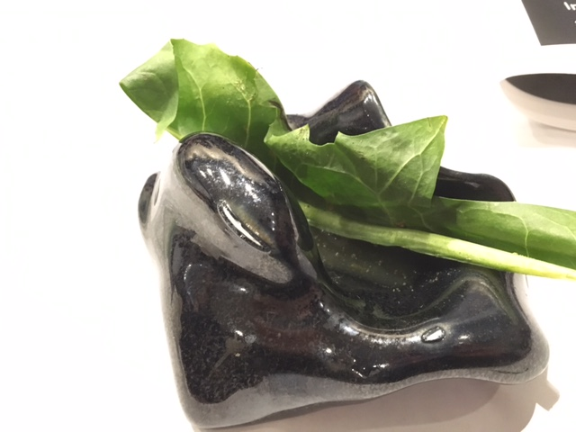 [Image: a dark brown piece of pottery in an organic shape holds a green dandelion leaf]