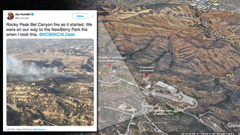 (Inset) A flyover of the Santa Susana Field Lab just as the Woolsey Fire was beginning.