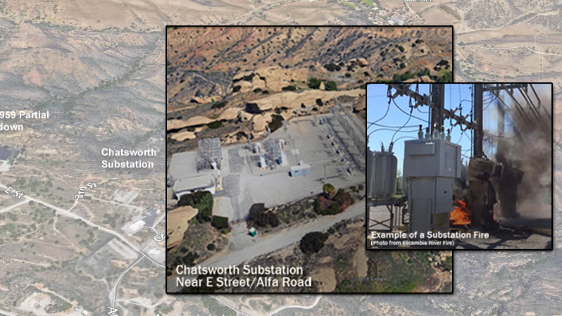 Closeup view of the Chatsworth Substation at the Santa Susana Field Lab and an example of how substation fires can ignite larger wildfires.