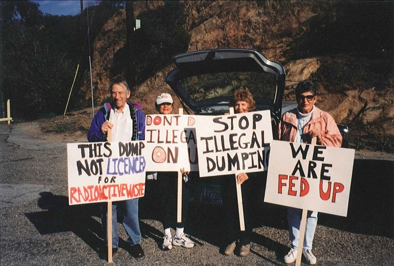 The Rocketdyne Cleanup Coalition protesting the illegal removal of soil from the SSFL to Button Willow