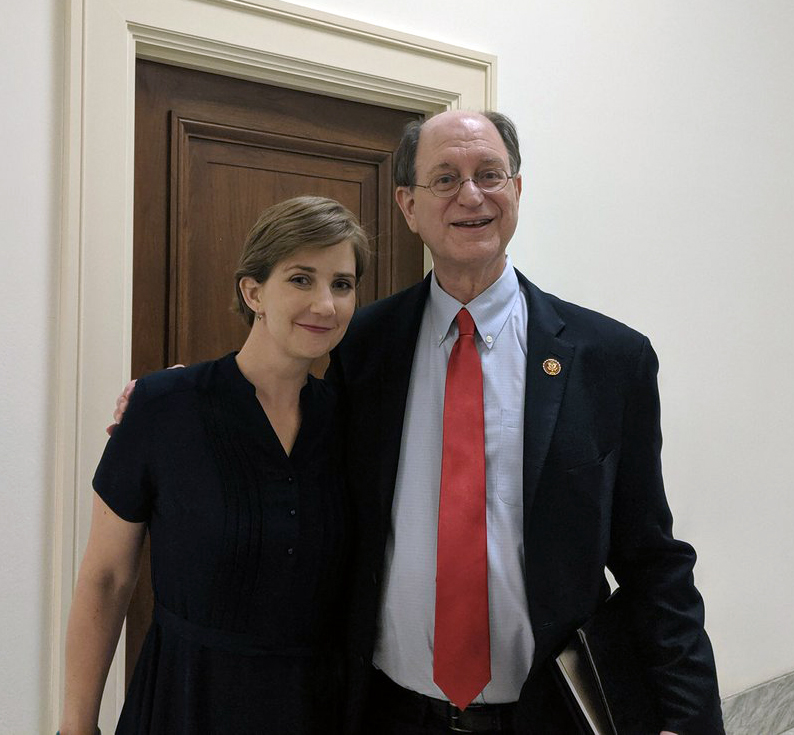 Melissa Bumstead greets congressmember Brad Sherman during a visit to his office to discuss the Santa Susana Field Lab cleanup, 2019.