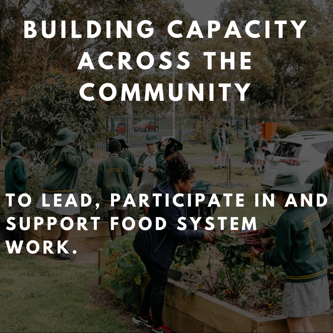 Actions include: - Developing strategic research partnerships to inform and expand the work of our collectiveFocused capacity building across the Food Movement, Strategic Steering Group, Council and community members.