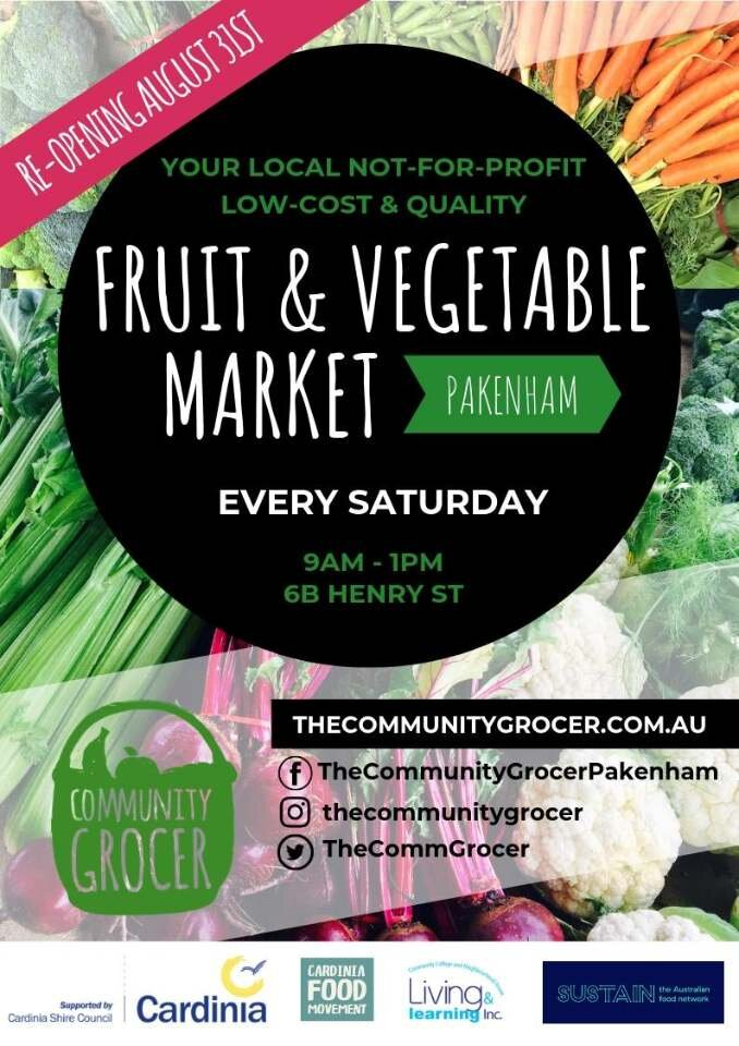 Pakenham Community Grocer - Operating since March 2018, this pop up weekly fresh food market has been spearheaded by powerhouse social enterprise The Community Grocer (TCG), and supported and enabled by Living Learning Pakenham, Cardinia Shire Council, Sustain: The Australian Food Network and the Cardinia Food Movement.TCG run affordable fresh food markets to support healthy connected communities. The Pakenham market is on average 60-70% cheaper than supermarkets and is frequented by 35 different nationalities. The market focuses on providing culturally appropriate food and operating in a setting and vibe that promotes social connection and conversation.Pakenham Community Grocer