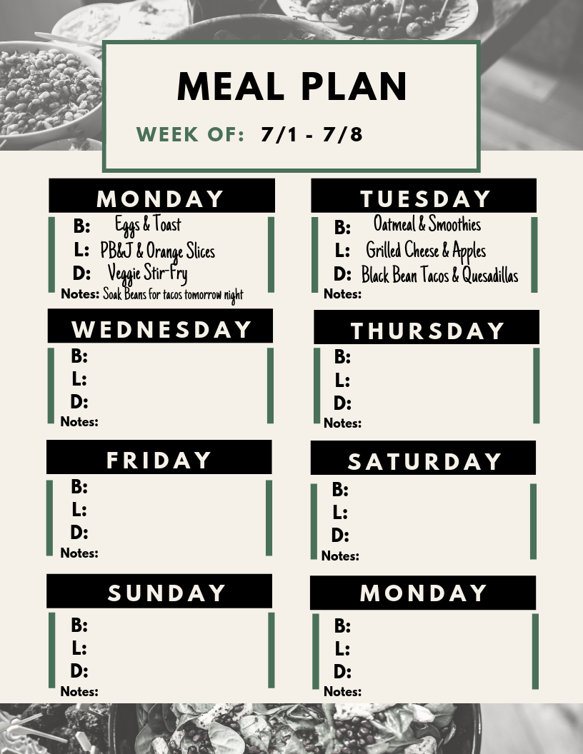 Step 2: - Plan your meals