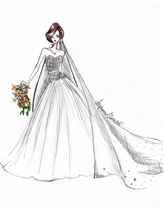 Best Seller, and most reccomended  This was my own dress! I used Marker and Micron pen to render this beauty. It rests in my home on display. I love it next to my wedding pictures!