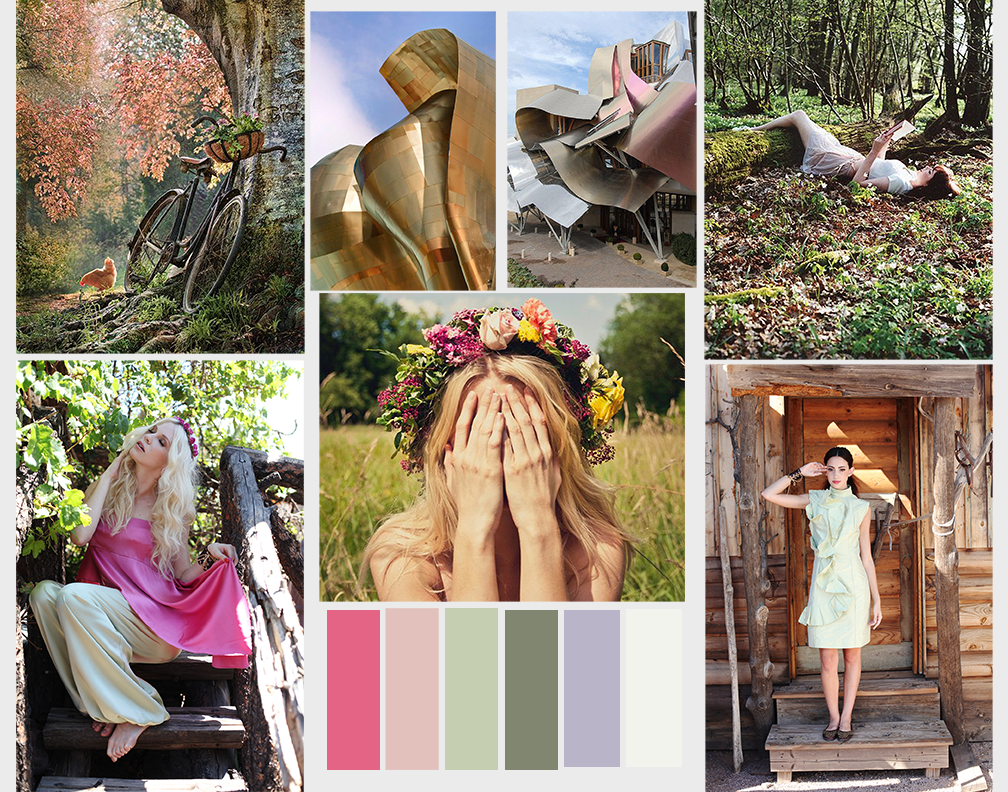 Photoshoot collab. Mood images up top. Color Scheme for Spring 2014 on bottom. Bottom Left and Right images Provided By Tiffany Eggbert. Models are Antonia and Mia. Inspired by boho style mixed with unconventional architecture such as Frank Gehery's Marqui de risquel as shown in the top images.