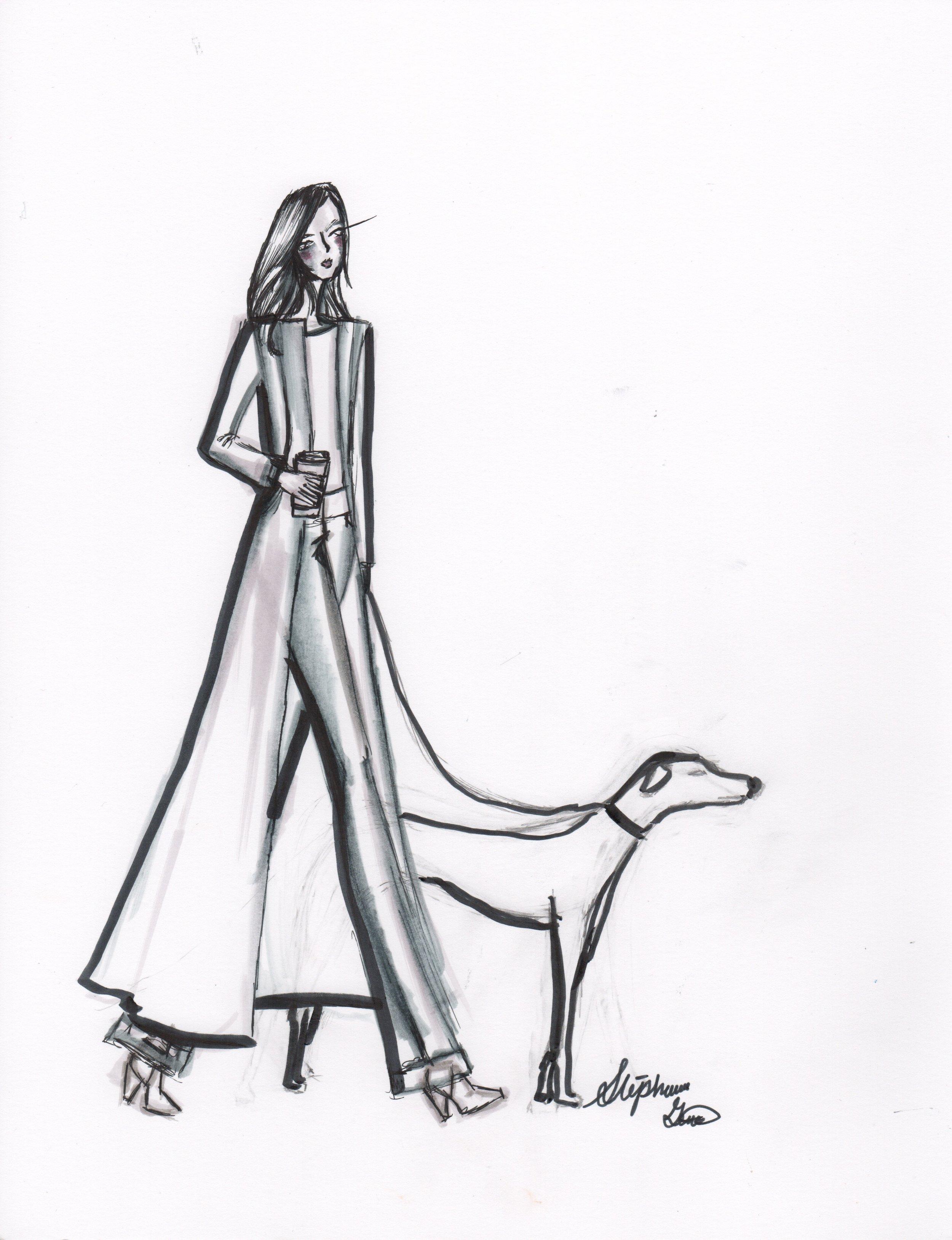 Strolling through the park. Fashion Illustration.