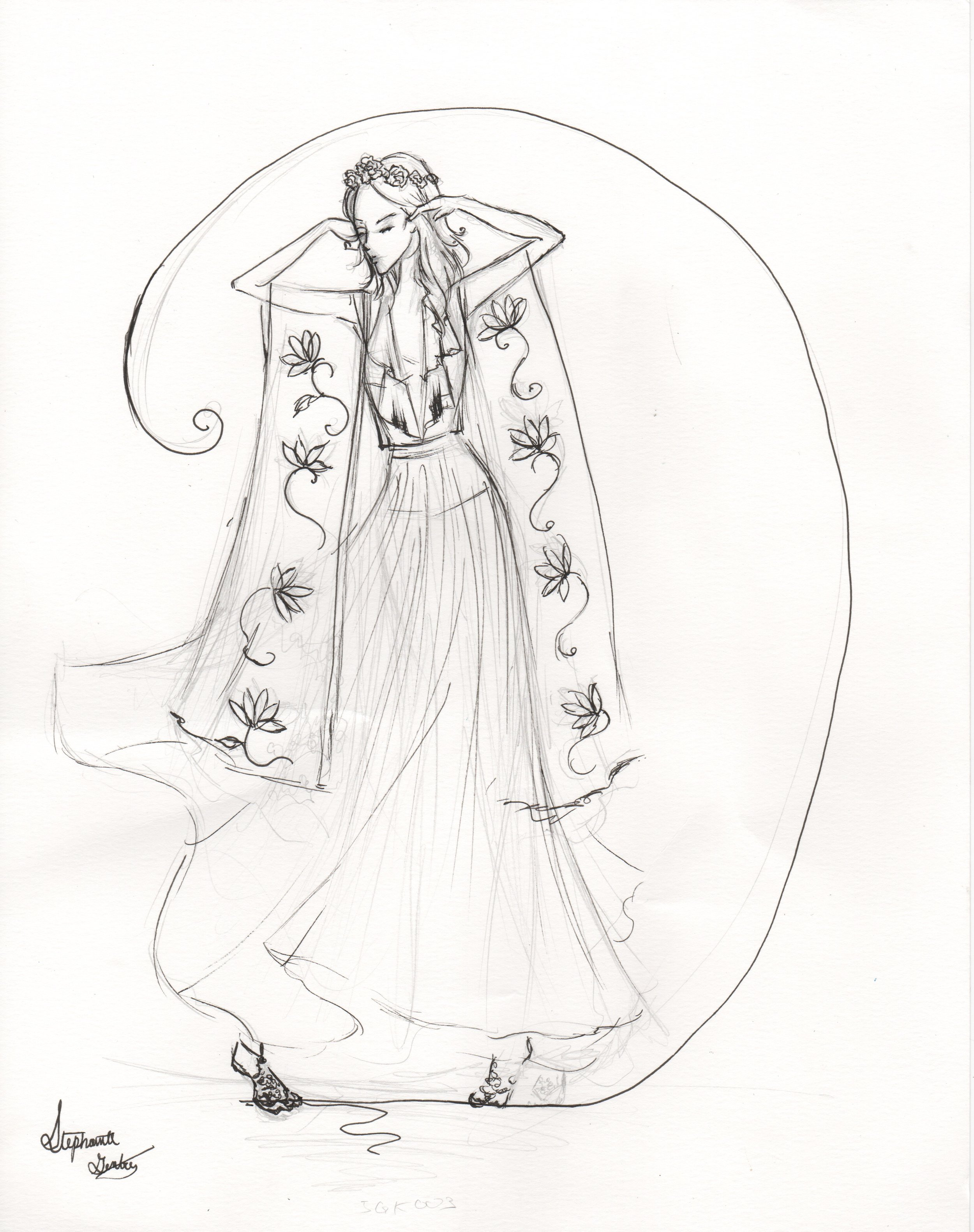 Boho Bride Inspiration and way to customize bridal portrait. Micron pen style