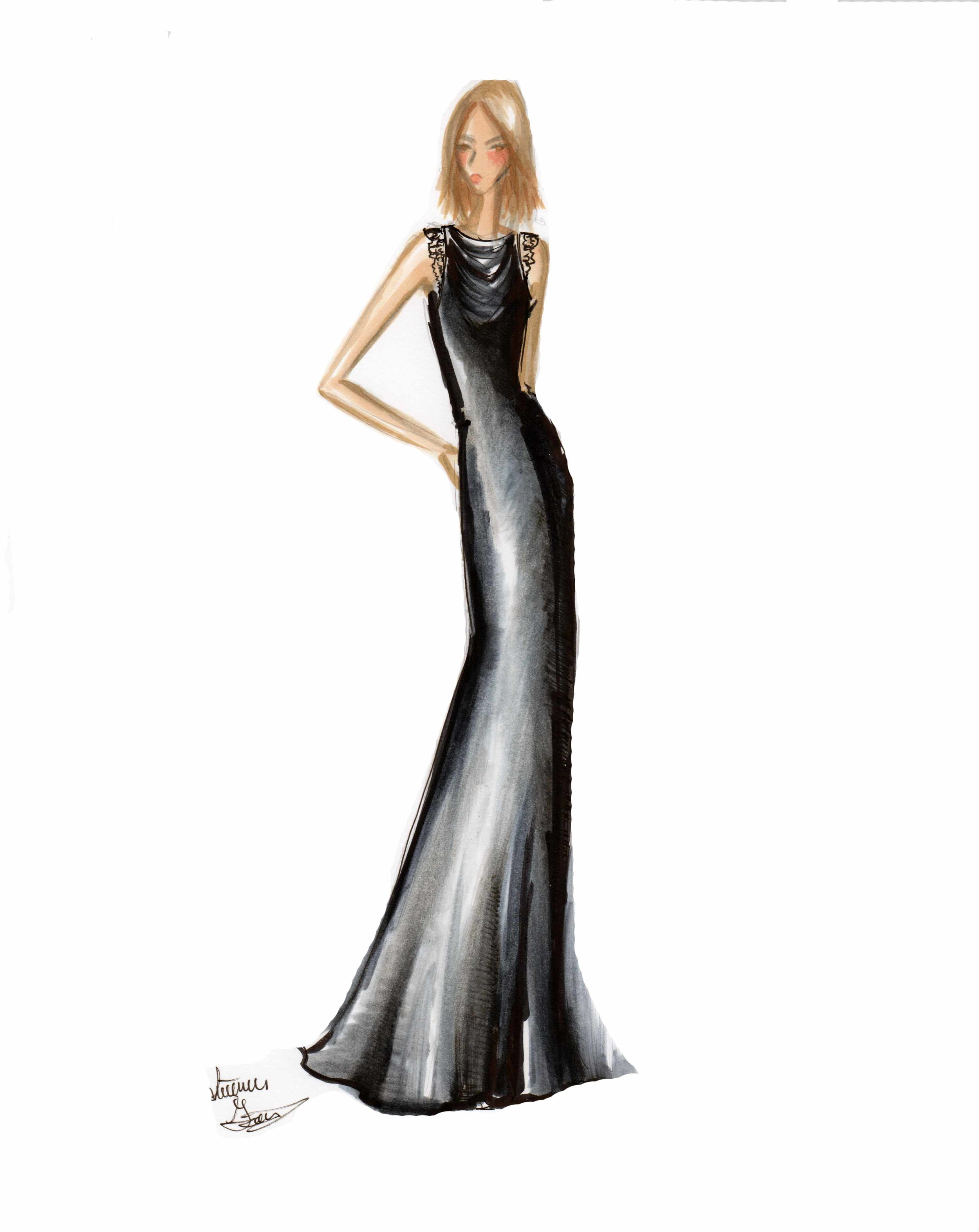 Sample Sketch Marker render. Note Red Carpet Style. Cowl Black dress with lace detailing. Like the look? Ask about custom orders!