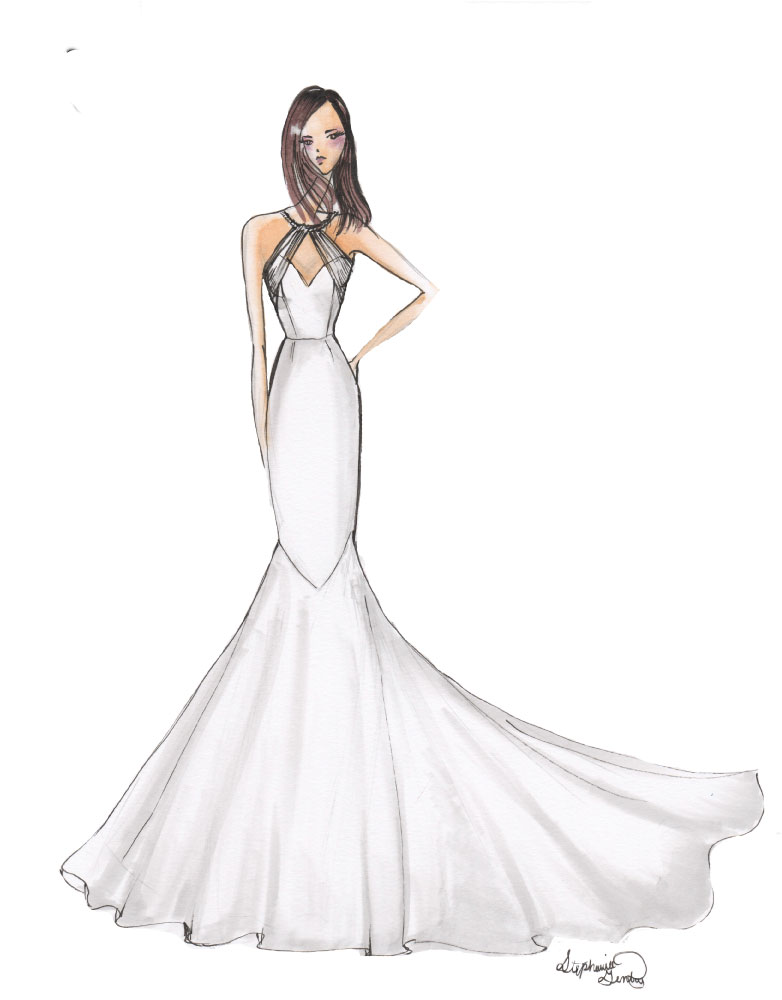 Marker Sketch Note Wedding dress style: Like the look? Ask about custom orders!