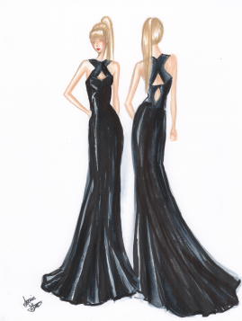 Sample Marker SketchRed Carpet Style. Like the look? Ask about custom order!