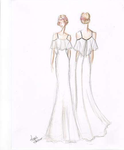 Sample Sketch: Marker Render. Note: Boho Wedding Style. Like the dress? Ask about custom orders!
