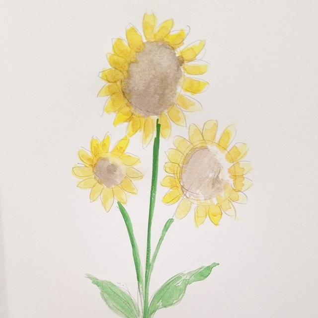 Water Color Sunflowers
