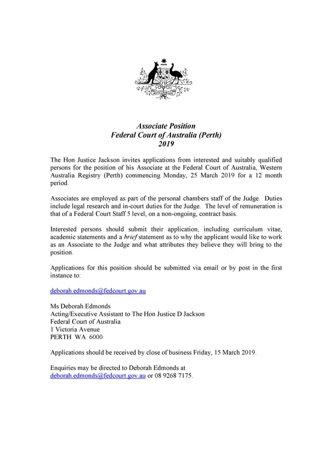Student Opportunities — Curtin Student Law Society