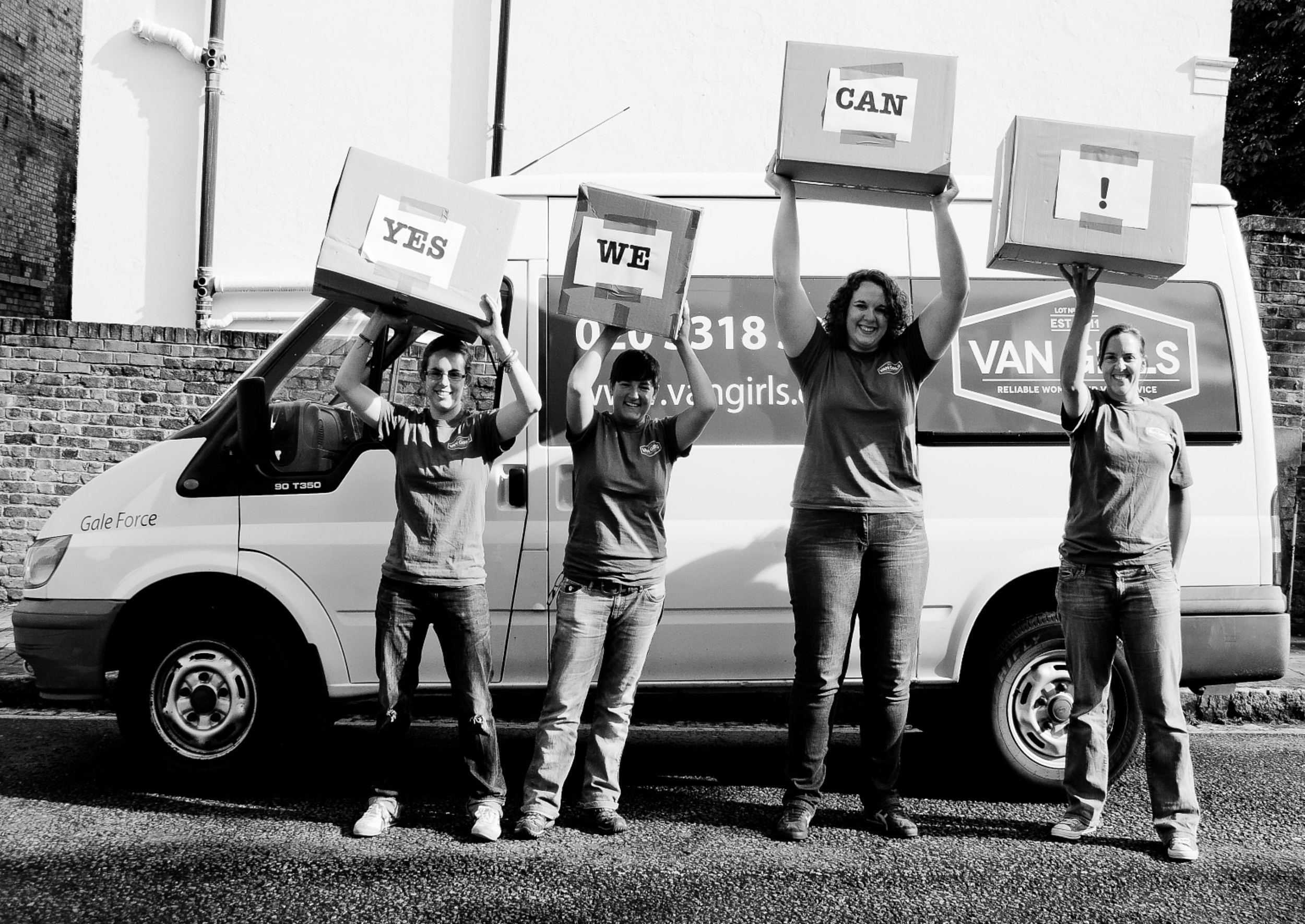 Van Girls with Boxes in air   Women's Magazine Feature